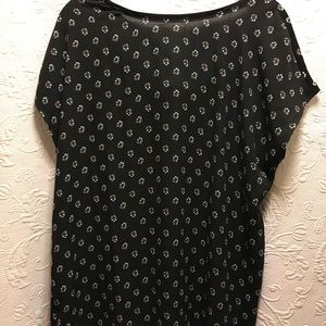 Loft Short Sleeve Black Floral Top size Small